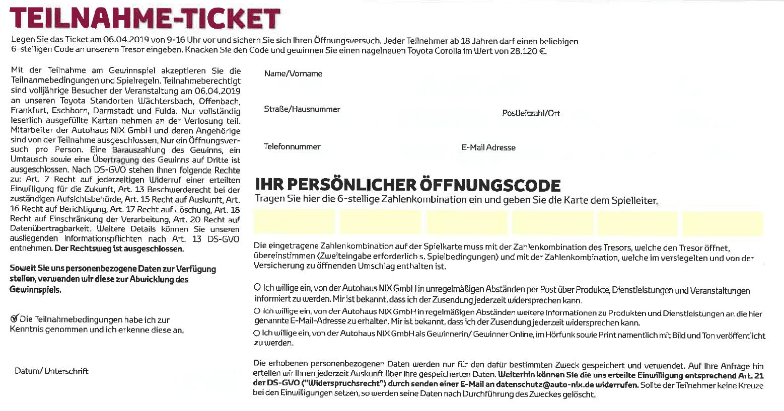 Autohaus NIX Tresor-Gewinnspiel Teilnahmekarte