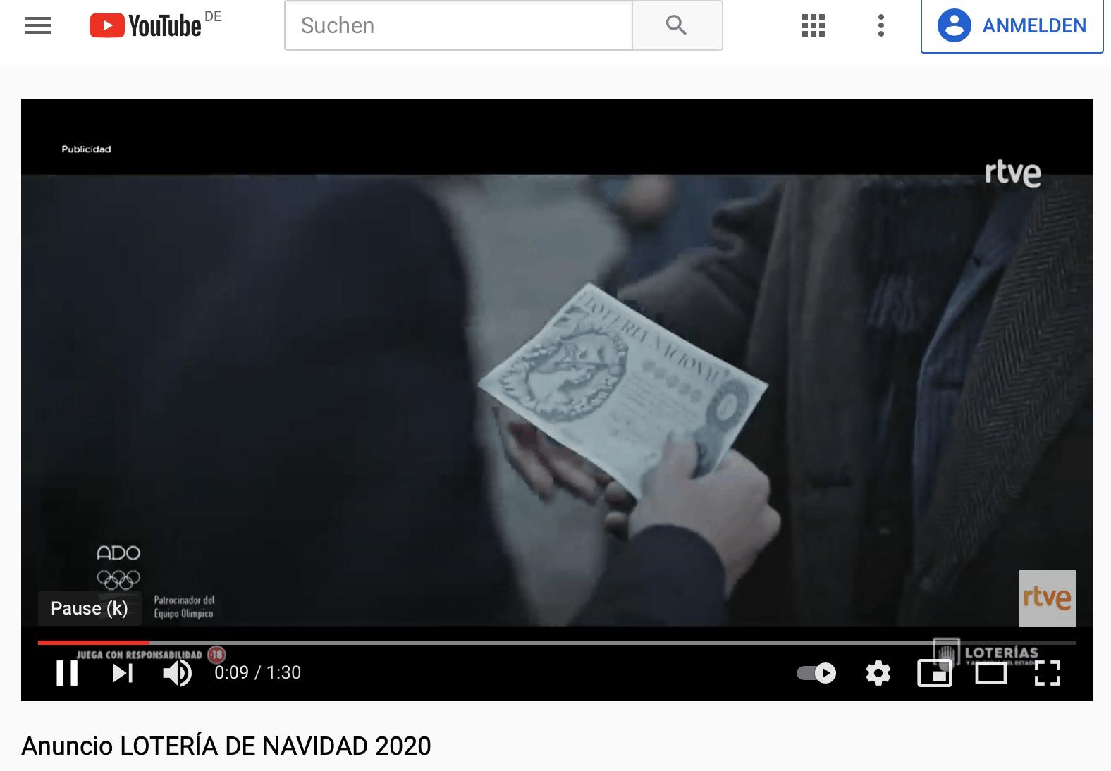 """Werbespot spanische Weihnachtslotterie """"El Gordo"""""""