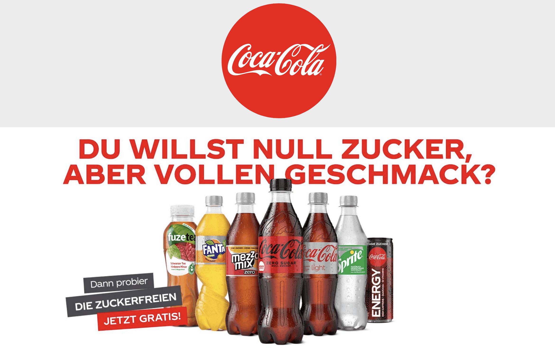 """Cases """"Gratis Testen"""" Coke zuckerfrei"""