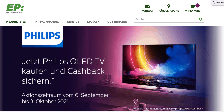 Case Cashback Philips bei EP